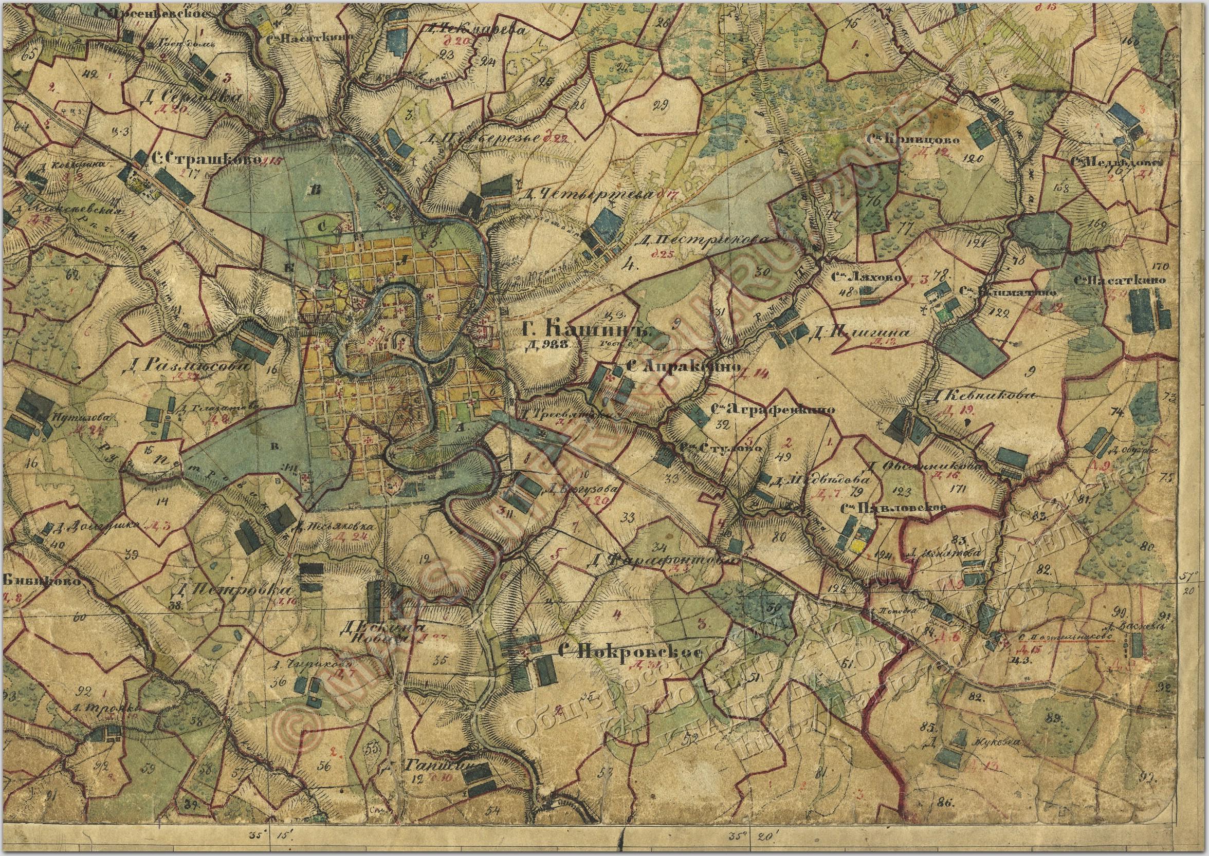 карта трактов калужской губерни с онлайн привязкой